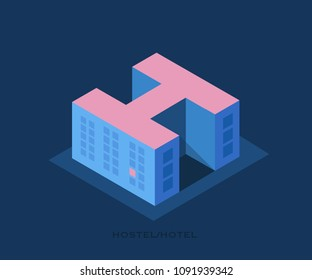 Conceptual vector logo of the Hostel. Illustration in a minimalist style, building of a hostel or hotel in the form of a letter H.
