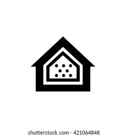Conceptual vector passive house airtight icon and pictogram | modern flat design illustration and infographic concept black on white background