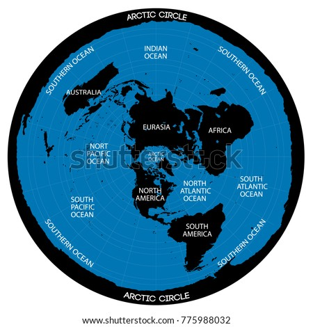Conceptual vector scheme. Map of the flat Earth theory.