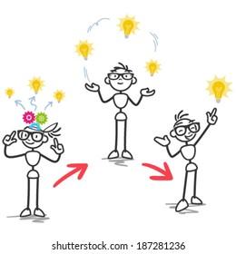 Conceptual vector stick figure illustration: Stickman demonstrating the process of ideation, development of an idea.