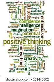 Conceptual vector of tag cloud containing words related to creativity, positive thinking, confidence, enthusiasm, imagination, inspiration, potential, optimism... Also available as raster.