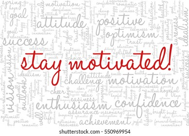 """Conceptual vector of tag cloud containing words related to creativity, positive thinking, confidence, enthusiasm, imagination, inspiration, potential, optimism... """"Stay motivated!"""" emphasized."""