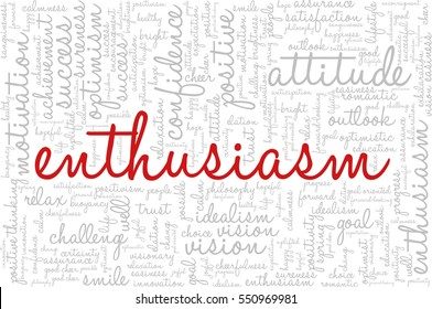 "Conceptual vector of tag cloud containing words related to creativity, positive thinking, confidence, enthusiasm, imagination, inspiration, potential, optimism... Word ""enthusiasm"" emphasized."