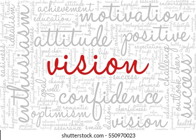 """Conceptual vector of tag cloud containing words related to creativity, positive thinking, confidence, enthusiasm, imagination, inspiration, potential, optimism... Word """"vision"""" emphasized."""