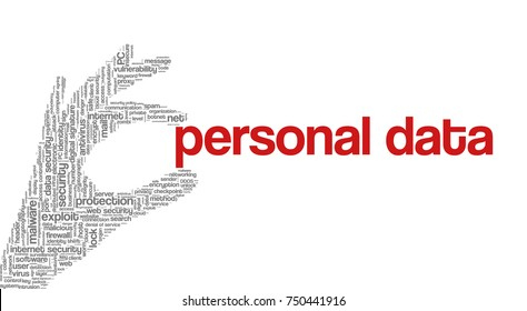 """Conceptual vector of tag cloud containing words related to internet, data, web and network security, data protection, security policy and privacy; in shape of hand holding words """"personal data"""""""