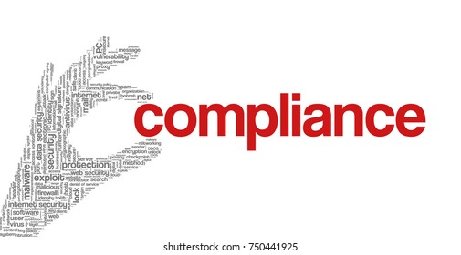 """Conceptual vector of tag cloud containing words related to internet, data, web and network security, data protection, security policy and privacy; in shape of hand holding word """"compliance"""""""