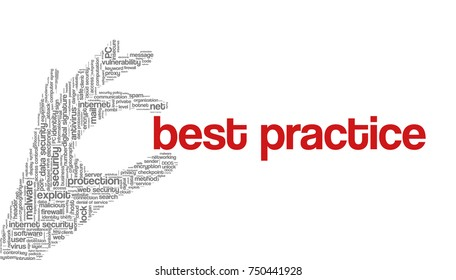 """Conceptual vector of tag cloud containing words related to internet, data, web and network security, data protection, security policy and privacy; in shape of hand holding words """"best practice"""""""