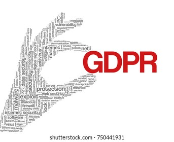 "Conceptual vector of tag cloud containing words related to data protection, security policy and privacy; in shape of hand holding word ""GDPR"", illustrating EU law on data privacy"