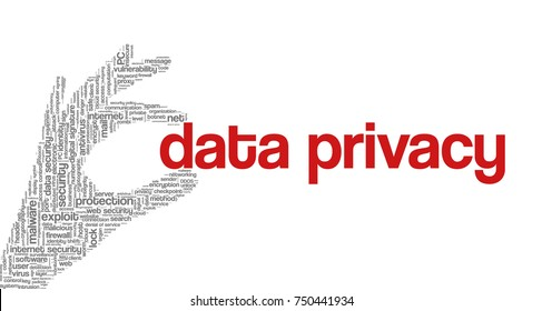 """Conceptual vector of tag cloud containing words related to internet, data, web and network security, data protection, security policy and privacy; in shape of hand holding words """"data privacy"""""""
