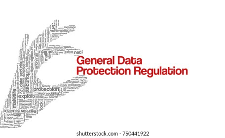 "Conceptual vector of tag cloud with words related to data protection security and privacy; in shape of hand holding words ""General Data Protection Regulation"", illustrating EU law on data privacy"