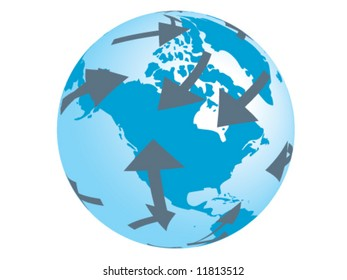 Conceptual vector of traveling around the world