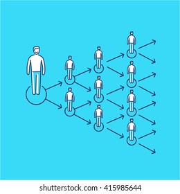 Conceptual vector viral marketing icon that spreads exponentially and increased to multiply customers group   modern flat design business linear illustration and infographic concept on blue background