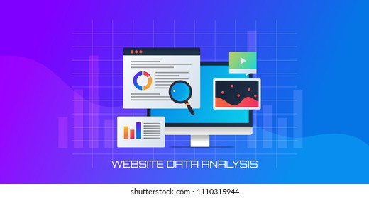 Conceptual vector for Website data analysis - Website traffic - Business analytics -vector banner