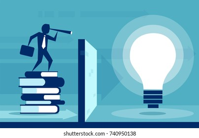 Conceptual web illustration for power of knowledge man overcoming obstacles in desire to be educated.