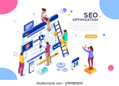 Conceptual web seo illustration. Landing page for stylish website. Teamwork project, web agency or male young employee and new company project. Sticker for web banner. Flat isometric vector images. - Shutterstock ID 1099885859