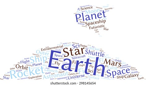 Conceptual word cloud in the abstract shape of a rocket flying near a planet