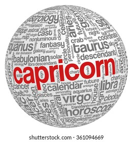 Conceptual word cloud containing words related to zodiac, astrology and horoscope, with sign capricorn emphasized, in shape of a sphere