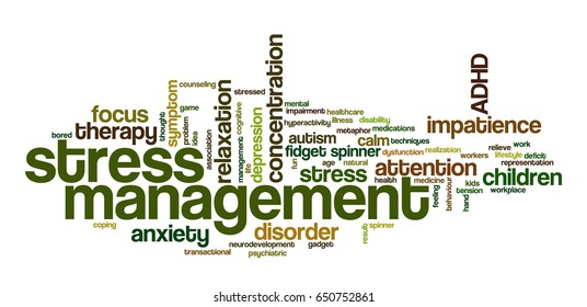 """Conceptual word cloud related to stress management, ADHD, stress relief, anxiety, concentration problems and hyperactivity; word """"stress management"""" emphasized"""