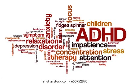 """Conceptual word cloud related to stress management, ADHD, stress relief, anxiety, concentration problems and hyperactivity; word """"ADHD"""" emphasized"""