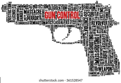 Conceptual word cloud with terms related to gun control, mass shootings and gun control policies, in shape of a gun