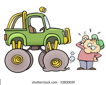 Concerned toon guy scratching his head while looking at his monster truck with a flat tire