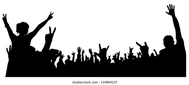 Concert Crowd Silhouette on white background