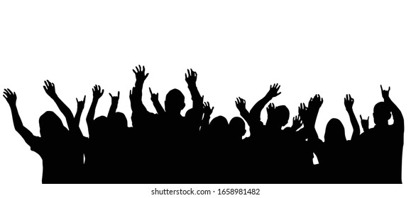 Concert Crowd Silhouettes Isolated on White