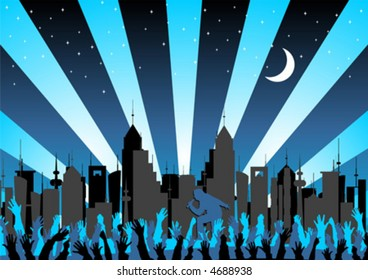 Concert crowd and woman singing over starry city skyline