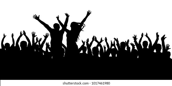 Concert disco, dancing crowd silhouette, cheerful people