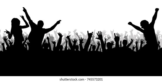 Concert disco, dancing crowd silhouette