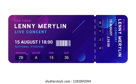 Concert entrance vector ticket templates. Party event elegant flyer design show. Music pass invitation.