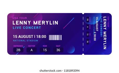 Concert entrance vector ticket templates. Party event elegant flyer design show. Music pass invitation.