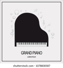 Concert grand piano Black color, keyboards and plucked instruments. Icon isolated on a light background. With elements of a treble clef, a star, headphones, a mediator. Banner with a frame. Vector