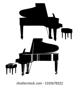concert grand piano and empty pianist bench - classical musical instrument ready for performance black vector outline and silhouette set