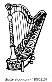 concert harp doodle style sketch illustration hand drawn vector
