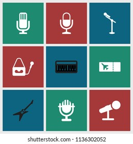 Concert icon. collection of 9 concert filled icons such as microphone, ticket, piano. editable concert icons for web and mobile.