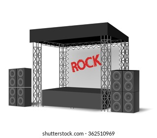 Concert podium,Outdoor festival stage,truss construction.scene, event.Rock Stage