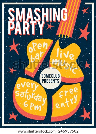 Concert poster flyer template featuring smashed stock vector concert poster or flyer template featuring smashed guitar and stars retro style maxwellsz