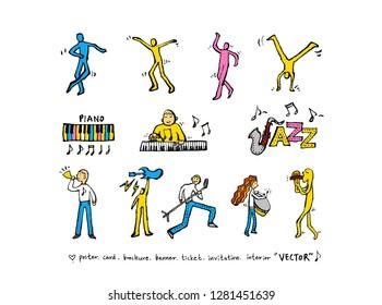 concert poster / Sketchy music illustration - vector