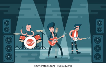 Concert of rock band on stage. Singing guitarist, bass guitar player, drummer in stylish clothes. Cartoon illustration in flat style.