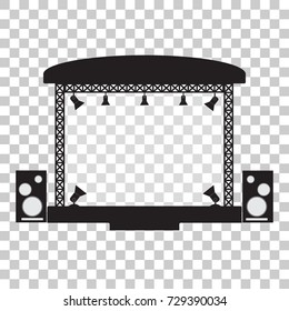 Concert stage and musical equipment simple flat design.