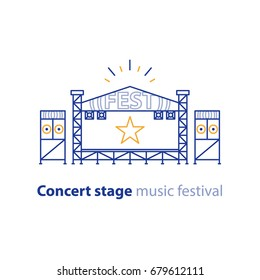 Concert stage rental services, mobile podium, entertainment show, music festival organization, vector line illustration
