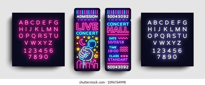 Concert Ticket Neon Vector. Concert Ticket Modern Trend Design, Invitation to Live Music, Neon Style, Light banner, Bright Festival advertisement, invitation concert. Vector. Editing text neon sign