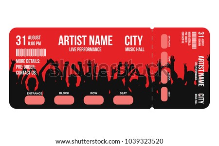 concert ticket template concert party festival のベクター画像素材