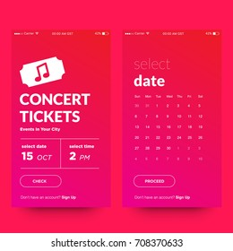 Concert Tickets Events In Your City UI UX Screen Design With Select Date Calendar