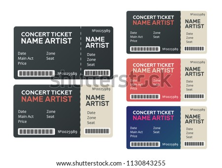 Concert Tickets Isolated Music Dance Live Stock Vector