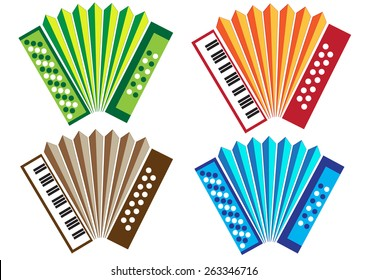 Concertina & Accordion Traditional Instruments from Portugal, Vector Illustration