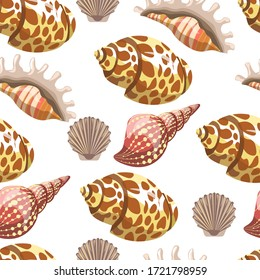 Conches and seashells seamless pattern. Nautical objects for decor or marine theme decoration. Sea and ocean dwellers for aquariums, exotic cockleshell, mussels shellfish. Vector in flat style