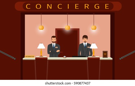 Concierge desk service. Front view of hotel concierge counter with two hotel employee. Flat style vector illustration...