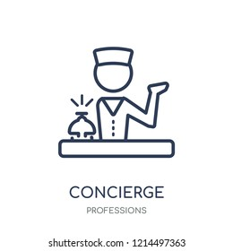 Concierge icon. Concierge linear symbol design from Professions collection. Simple outline element vector illustration on white background.